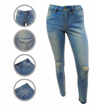 Wholesale Womens Ex Chainstore High Waisted Skinny Jeans Ripped Knee Stone Wash